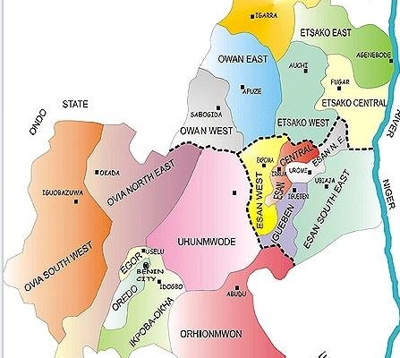 Map of Edo State Showing Local Government Areas